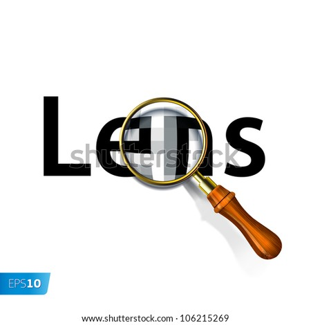 Magnifying glass and text label Lens, vector Eps10 illustration. - stock vector