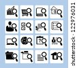 magnifying glass and verification icon set, search the folder - stock vector