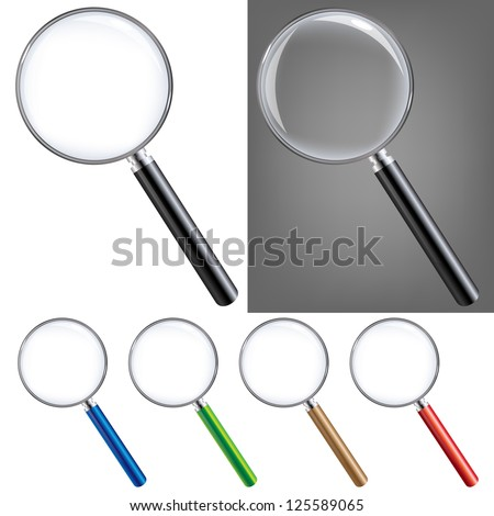 Magnifying Glass Big Set, Isolated On White Background, With Gradient Mesh, Vector Illustration - stock vector