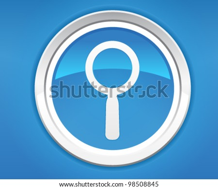 Magnifying glass blue icon - stock vector