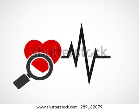magnifying glass cardiogram heart concept icon - stock vector