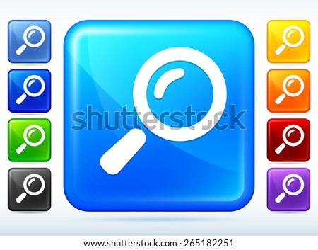 Magnifying Glass Colorful Square Button