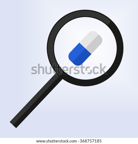 magnifying glass examining a blue and white pill - stock vector