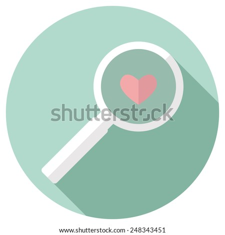 Magnifying Glass Icon and pink heart. vector illustration - stock vector