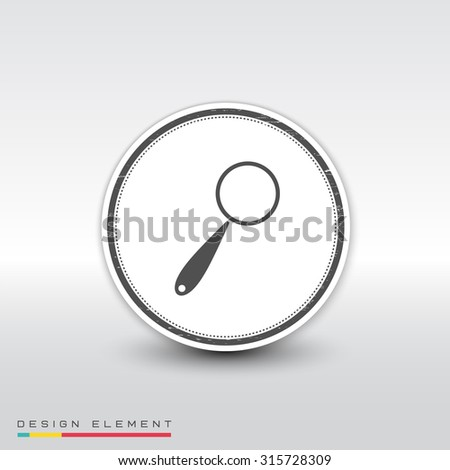 Magnifying glass icon. Flat design style. Made vector illustration. Emblem or label with shadow. - stock vector