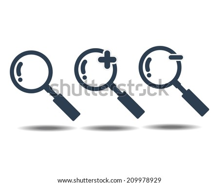 Magnifying Glass icon Isolate on White Background - stock vector