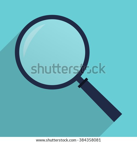 Magnifying glass icon. Magnifier in flat style with long shadow. Vector illustration.