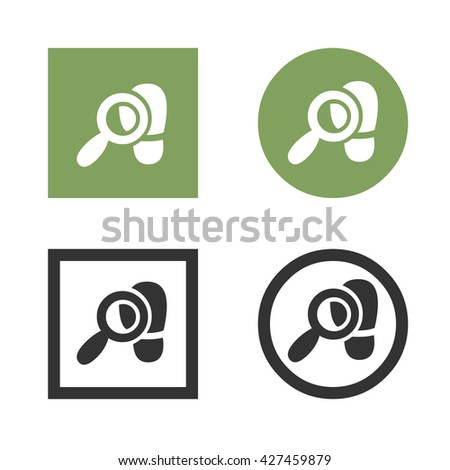Magnifying glass icon over footsteps. Flat style - stock vector