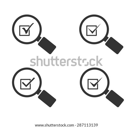 magnifying glass icon with check mark symbol - stock vector