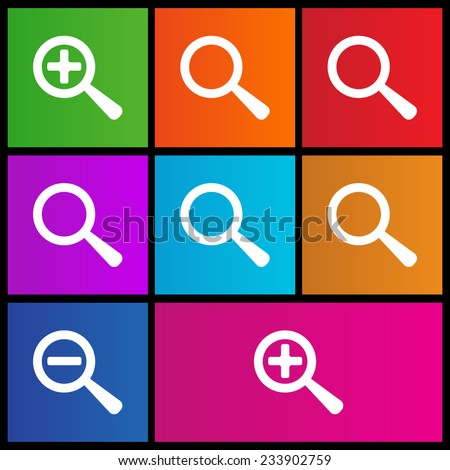 Magnifying Glass Icon. Zoom in, zoom out icons. Find, magnify, search, zoom buttons. Metro style - stock vector