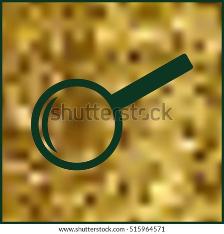 Magnifying glass isolated on gold background. Search Icon. Vector illustration.