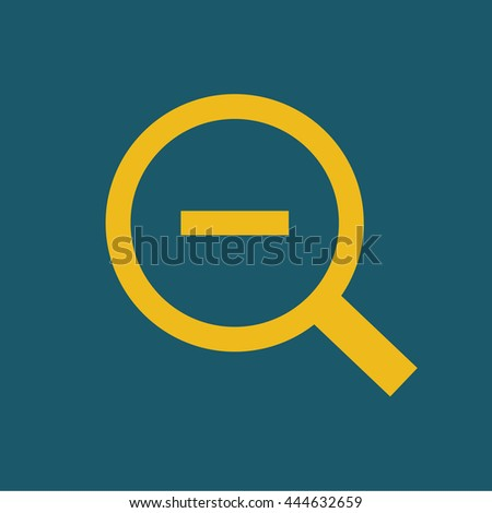 Magnifying glass / loupe / zoom out . yellow icon . vector illustration - stock vector
