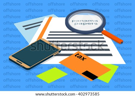 Magnifying Glass Offshore Panama Papers Folder Documents Office Desk Vector Illustration - stock vector