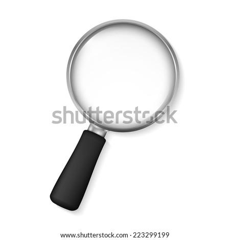Magnifying glass on white background, vector eps10 illustration - stock vector