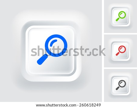 Magnifying Glass on White Square Button
