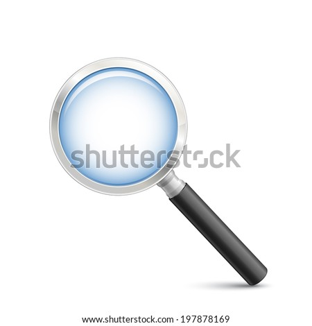 Magnifying glass on white. Vector illustration