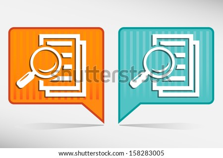 Magnifying glass orange and blue pointer - search the document.  - stock vector