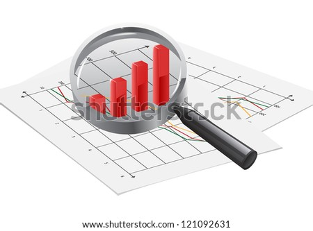 Magnifying glass over a dollar sign representing the search for finance and wealth or analysis and accounting. - stock vector