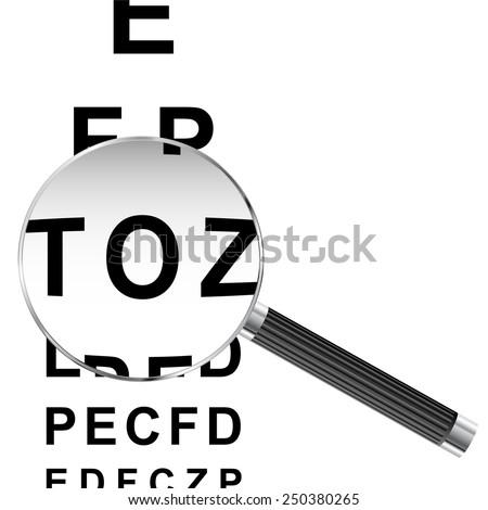 Magnifying glass over eye chart vector illustration  - stock vector