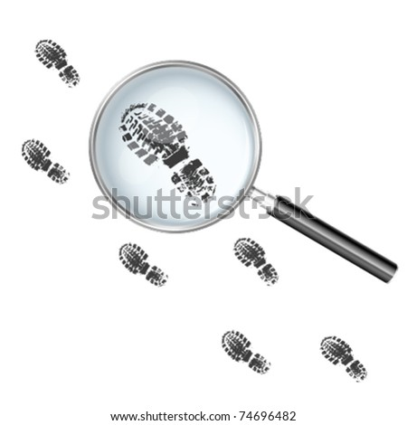 Magnifying glass over the footprints - stock vector