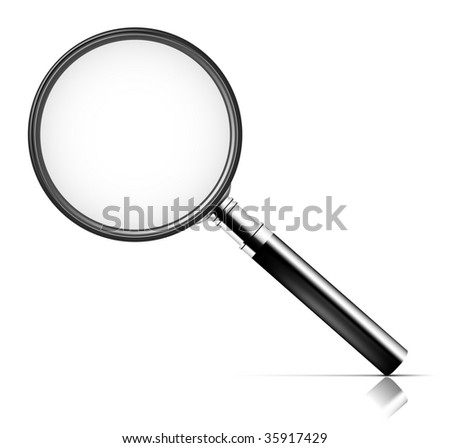 Magnifying glass over white background. To see more detailed vectors go to my portfolio... - stock vector