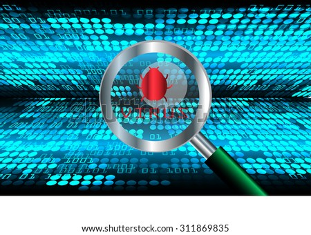 Magnifying Glass scanning and identifying a computer virus. Antivirus protection and computer security concept. PC. vector one zero. scan. technology digital website internet web.World map. global