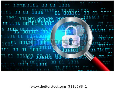 Magnifying Glass scanning and identifying a computer virus. Antivirus protection and computer security concept. PC. vector one zero. scan. technology digital website internet web. lock, key, Padlock