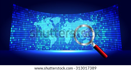 Magnifying Glass scanning and identifying a computer virus. Antivirus protection and computer security concept. PC. vector one zero. scan. technology digital website internet web. World Map, Global