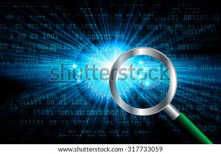 Magnifying Glass scanning and identifying a computer virus. Antivirus protection and computer security concept. PC. vector one zero. scan. technology digital website internet web.