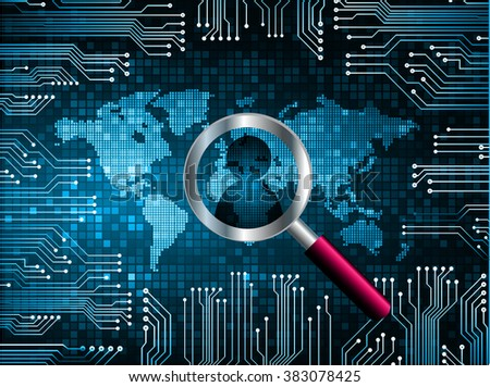 Magnifying Glass scanning and identifying a computer virus. Antivirus protection and computer security concept. PC. vector one zero.technology digital website internet web .World map.people scan. blue - stock vector
