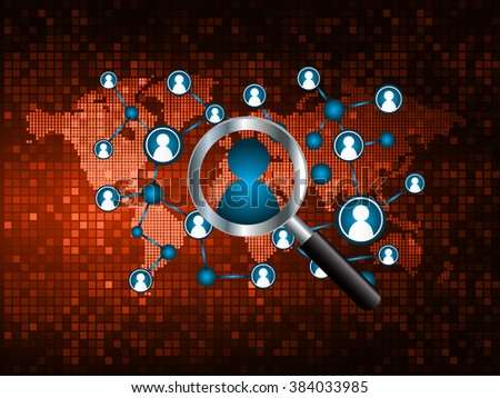 Magnifying Glass scanning and identifying a computer virus. Antivirus protection and computer security concept. PC.vector one zero.technology digital website internet web .World map.people scan.orange - stock vector