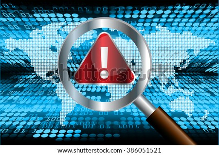magnifying Glass scanning and identifying a computer virus. Antivirus protection and computer security concept. world - stock vector