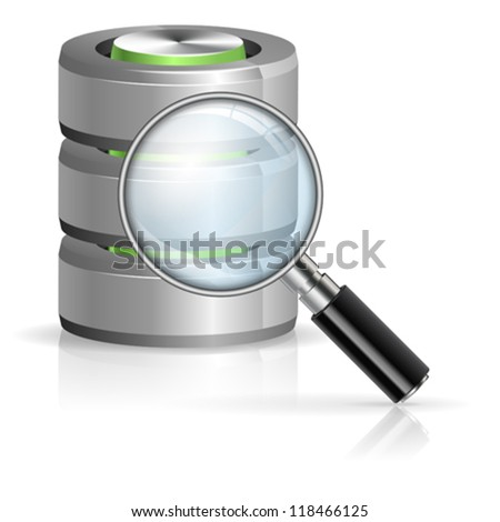 Magnifying Glass Searching in Database icon, isolated on white, vector illustration - stock vector