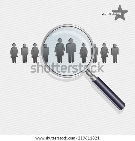 Magnifying glass searching people - stock vector