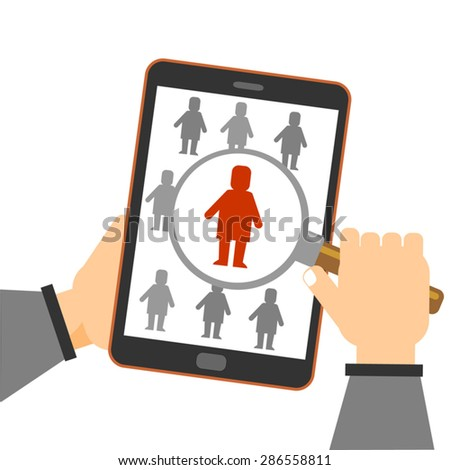 magnifying glass searching people online using smartphone, mobile  people search magnifying glass icon. Hand ser holding a tablet showing search icon - stock vector