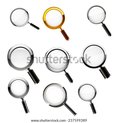 Magnifying glass set. Vector - stock vector