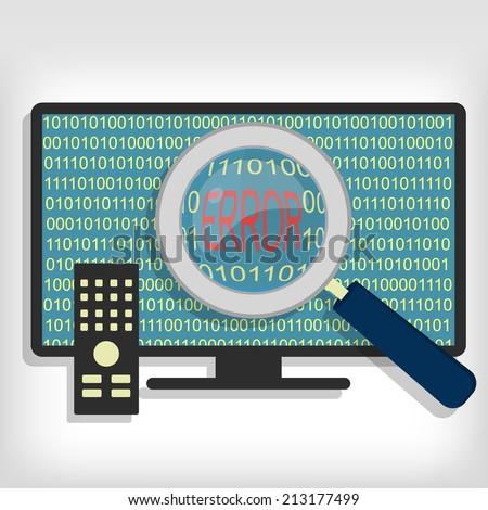Magnifying glass showing error code on smart tv. Smart tv error code - stock vector