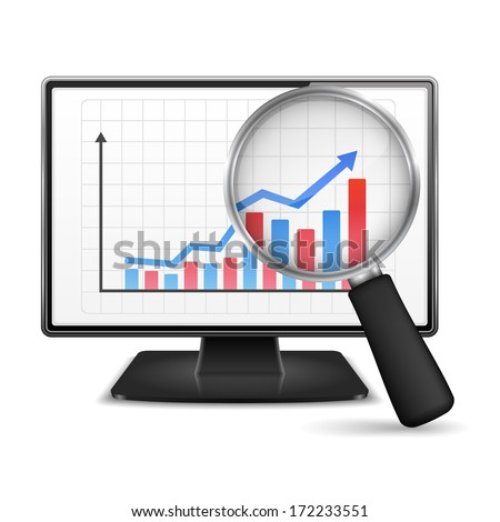 Magnifying glass showing rising bar graph with arrow on the screen of computer monitor, vector eps10 illustration - stock vector