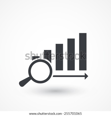 Magnifying glass showing rising chart bar graph, vector eps10 illustration - stock vector