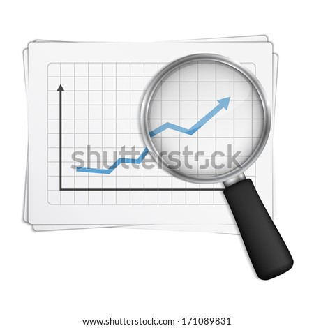 Magnifying glass showing rising chart, vector eps10 illustration - stock vector