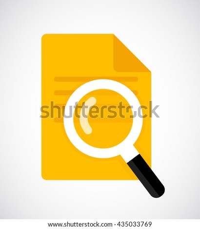 Magnifying glass vector icon. Document with Magnifying Glass. Flat Icon.  - stock vector