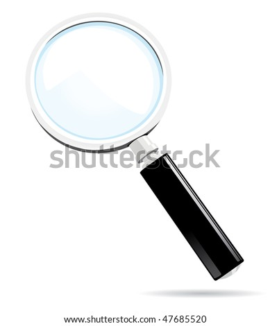Magnifying glass. Vector illustration isolated on white background.