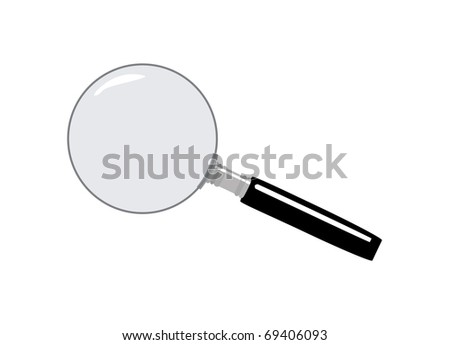 Magnifying glass, vector illustration with white background