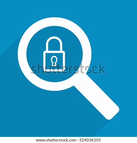 Magnifying glass with closed padlock - stock vector