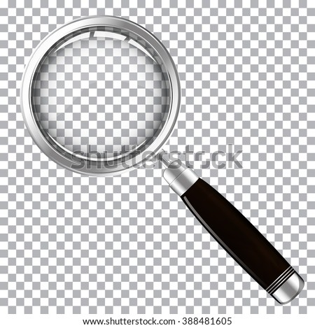 Magnifying glass with dark handle - stock vector