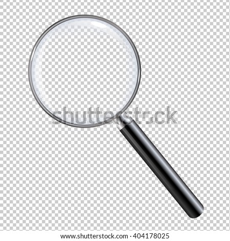 Magnifying Glass, With Gradient Mesh, Isolated on Transparent Background, With Gradient Mesh, Vector Illustration - stock vector