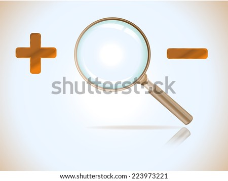 Magnifying glass with plus and minus signs - stock vector