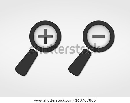 Magnifying glass with plus and minus signs, vector eps10 illustration - stock vector