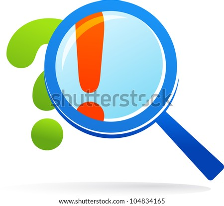 magnifying glass with Q & A - vector illustration - stock vector