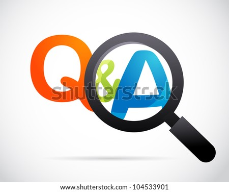magnifying glass with question and answer - stock vector